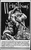 "A stocky figure in heavy cloak and hat with a hand-letter paragraph describing him, with the title ""Weirdisms"""