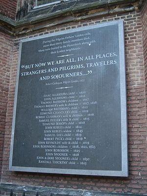 Scrooby Congregation - Memorial to congregation members, Pieterskerk, Leiden.