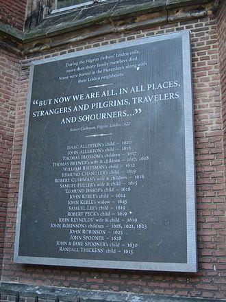 Scrooby Congregation - Memorial to congregation members, Pieterskerk, Leiden.
