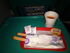 Shatabdi Express - Image: Light Snack served on the Shatabdi Express