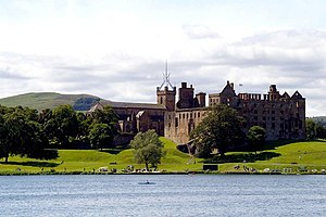 Linlithgow Loch - View of Cockleroy Hill, St Michael's Church, and Linlithgow Palace, from the north shore.