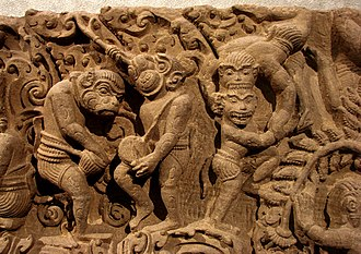 Battambang - Ramayana depicted on carvings from the 11th century