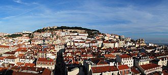 History of Lisbon - Panoramic view of Lisbon, showing the Castle hill and the Cathedral