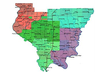 Southern Illinois - Southern Illinois, showing the Metro-East region in red, East Central Southern Illinois in teal, West Central Southern Illinois in dark green, Southwest Illinois in light green, and Southeastern Illinois in purple.