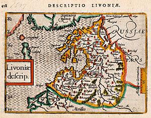 Petrus Bertius - Map of Livonia (1603) from Petrus Bertius, Tabularum Geographicarum Contractarum.