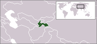 A map showing the location of Tajikistan