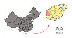 Location of Dongfang City (red) in Hainan