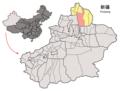 Location of Fuhai within Xinjiang (China).png