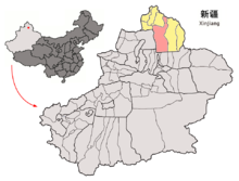 Location of Fuhai within Xinjiang (China).png