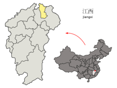 Location of Jingdezhen Prefecture within Jiangxi (China).png