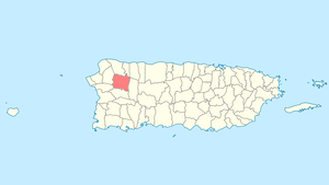 Location of San Sebastián in Puerto Rico