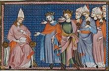 Miniature représentant le pape écoutant les demandes de deux rois et plusieurs évêques.