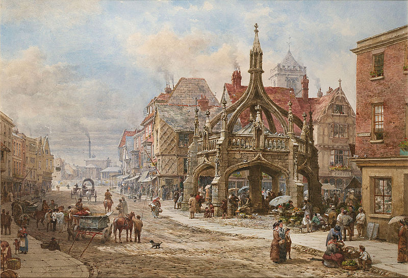 The Poultry Cross, Salisbury, painted by Louise Rayner, c. 1870.