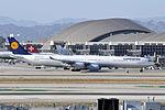 Lufthansa, Airbus A340-642, D-AIHQ - LAX (21996967185).jpg