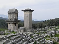 Lycian monumental tombs, the Harpy tomb and the pillared sarcophagus, Xanthos, Lycia, Turkey (8814489373).jpg