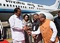 M. Venkaiah Naidu being received by the Union Minister for Rural Development, Panchayati Raj and Mines, Shri Narendra Singh Tomar, the Minister for Urban Development & Housing, Madhya Pradesh, Smt. Maya Singh.JPG