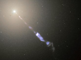 Special relativity - Figure 5-5. Galaxy M87 streams out a black-hole-powered jet of electrons and other sub-atomic particles traveling at nearly the speed of light.