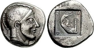 Protesilaus - Coinage of Skione. Head of Protesilaos, wearing Attic helmet / Stern of galley left within incuse square. Circa 480-470 BC