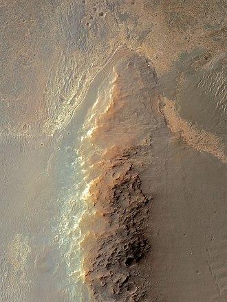 Solander Point - Solander Point with MER-B rover track November 2013
