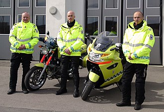 Motorcycle ambulance - Riders with two types of motorcycle ambulances in Norway