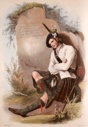 MacDonald of Glencoe - A romanticised Victorian-era illustration of a MacDonald of Glencoe clansman by R. R. McIan from The Clans of the Scottish Highlands published in 1845.