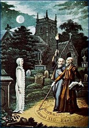 Robert Cross Smith - Illustration from The Astrologer Of The Nineteenth Century (1825). The image is based on an 1806 illustration by Ebenezer Sibly showing Edward Kelly and John Dee.