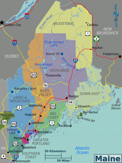 List of theaters in Maine - Wikipedia Downeast Maine Map on