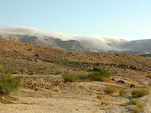 Clouds tumble over the cliff edges that surround a patch of desert; a few small shrubs sprout from the dry earth.