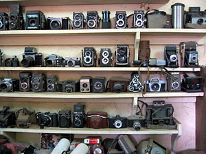 Malick Sidibé - Sidibé's studio in Bamako showing his cameras and equipment