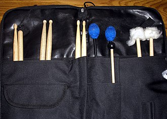 Percussion mallet - Mallet bag showing variety of mallets