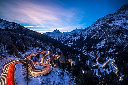 Maloja Pass in the blue hour
