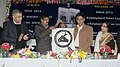 """Manish Tewari launching the new logo of """"Employment News"""", at a function, in New Delhi on February 05, 2013. The ADG (IC), Publications Division, Ms. Ira Joshi and other dignitaries are also seen.jpg"""