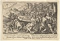 Mankind surrendering to lechery before the Flood- embracing couples on benches around a table with food and drink, from a series of engravings made for the first edition of the 'Liber Genesis' MET DP828355.jpg