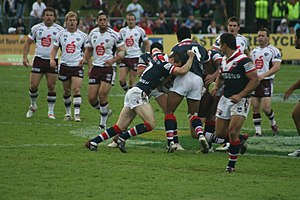 Manly Warringah Sea Eagles - Manly Sea Eagles in action against the Sydney Roosters at Brookvale Oval in June 2008