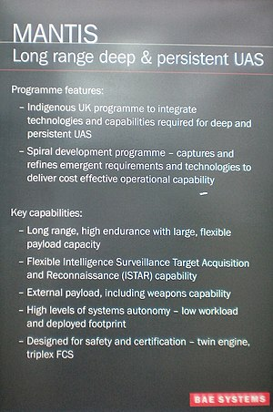 BAE Systems Mantis - Description board for Mantis at Farnborough Airshow 2008
