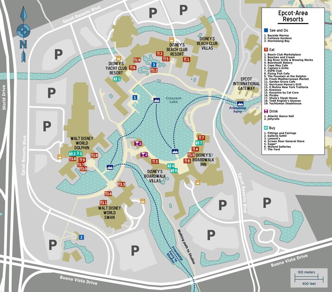 File:Map - Walt Disney World - Epcot - resorts.png ...