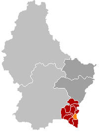 Map of Luxembourg with Wellenstein highlighted in orange, the district in dark grey, and the canton in dark red