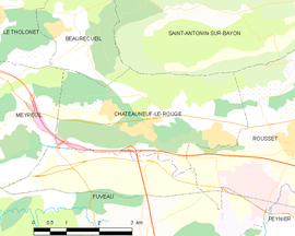 Mapa obce Châteauneuf-le-Rouge