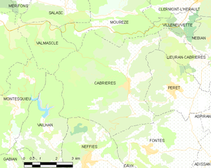 Cabrières, Hérault - Map