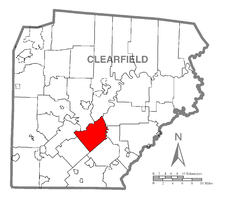 Map of Clearfield County, Pennsylvania highlighting Knox Township