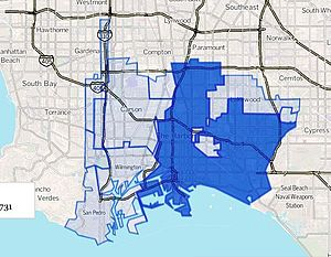 Los Angeles Harbor Region - Los Angeles Harbor Region as drawn by the Los Angeles Times. Dark blue is the city of Long Beach.