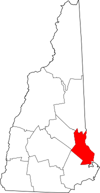 Locatie van Strafford County in New Hampshire
