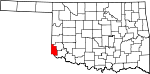 State map highlighting Harmon County