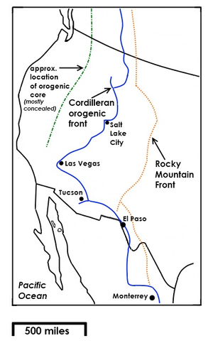 Rocky Mountain Front - Map showing the approximate easternmost position of the Rocky Mountain Front in the U.S.