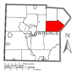 Location of Scott Township in Lawrence County