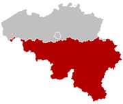 Location of Wallonia in Belgium.