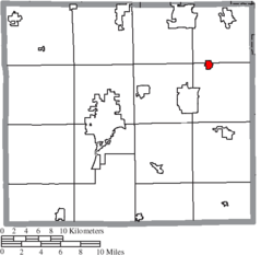 Location of Marshallville in Wayne County
