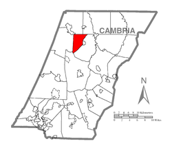 Map of Cambria County, Pennsylvania highlighting West Carroll Township