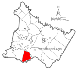 Map of Westmoreland County, Pennsylvania Highlighting East Huntingdon Township