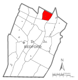 Map of Bedford County, Pennsylvania highlighting Woodbury Township